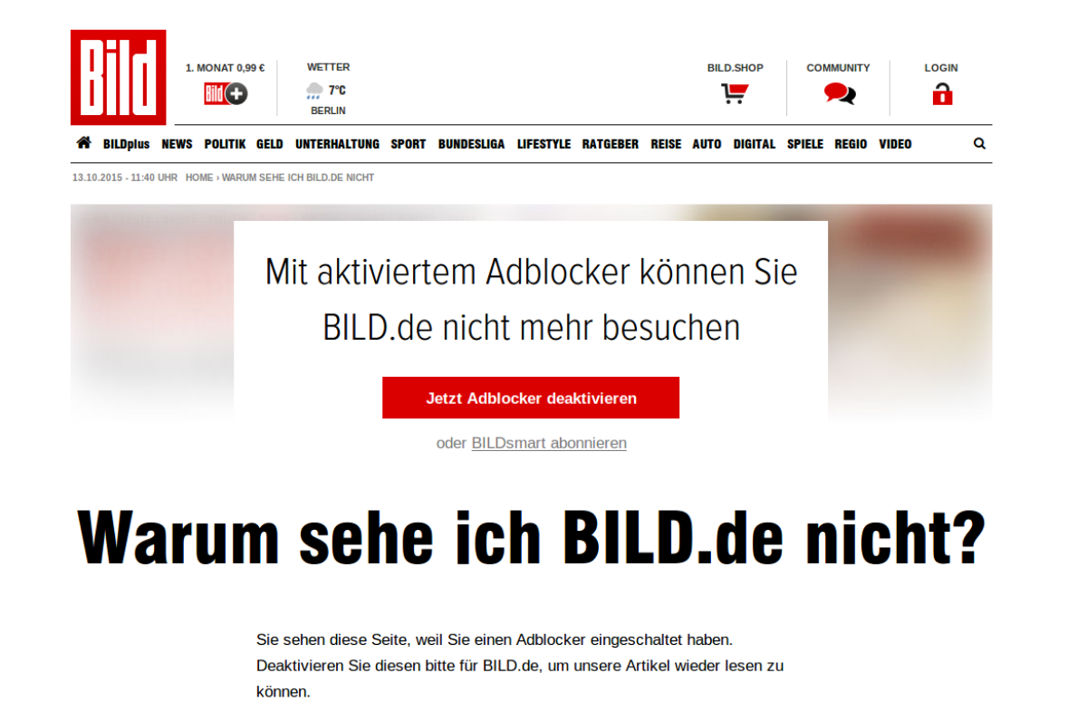 Screenshot: BILD mit Adblocker