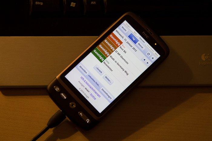 Mobile Web-App des Google Kalender